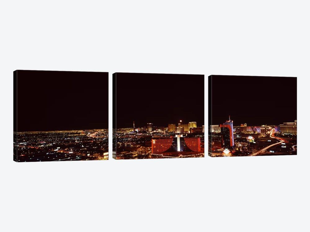 City lit up at night, Las Vegas, Nevada, USA #2 by Panoramic Images 3-piece Canvas Artwork