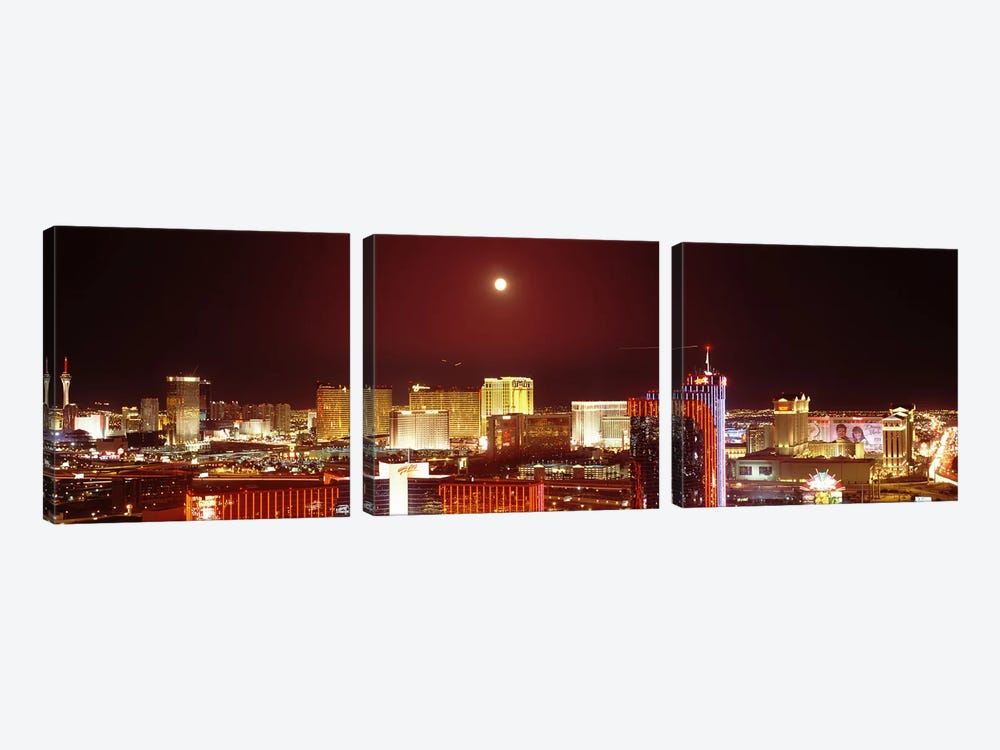 City lit up at night, Las Vegas, Nevada, USA #3 by Panoramic Images 3-piece Canvas Art Print