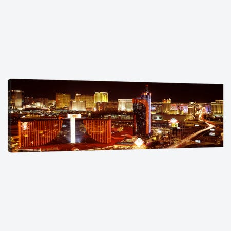 City lit up at night, Las Vegas, Nevada, USA #4 Canvas Print #PIM8177} by Panoramic Images Canvas Art
