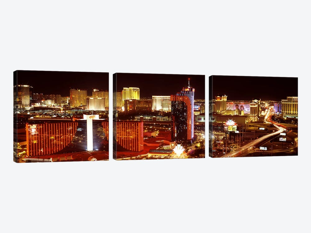 City lit up at night, Las Vegas, Nevada, USA #4 by Panoramic Images 3-piece Canvas Wall Art