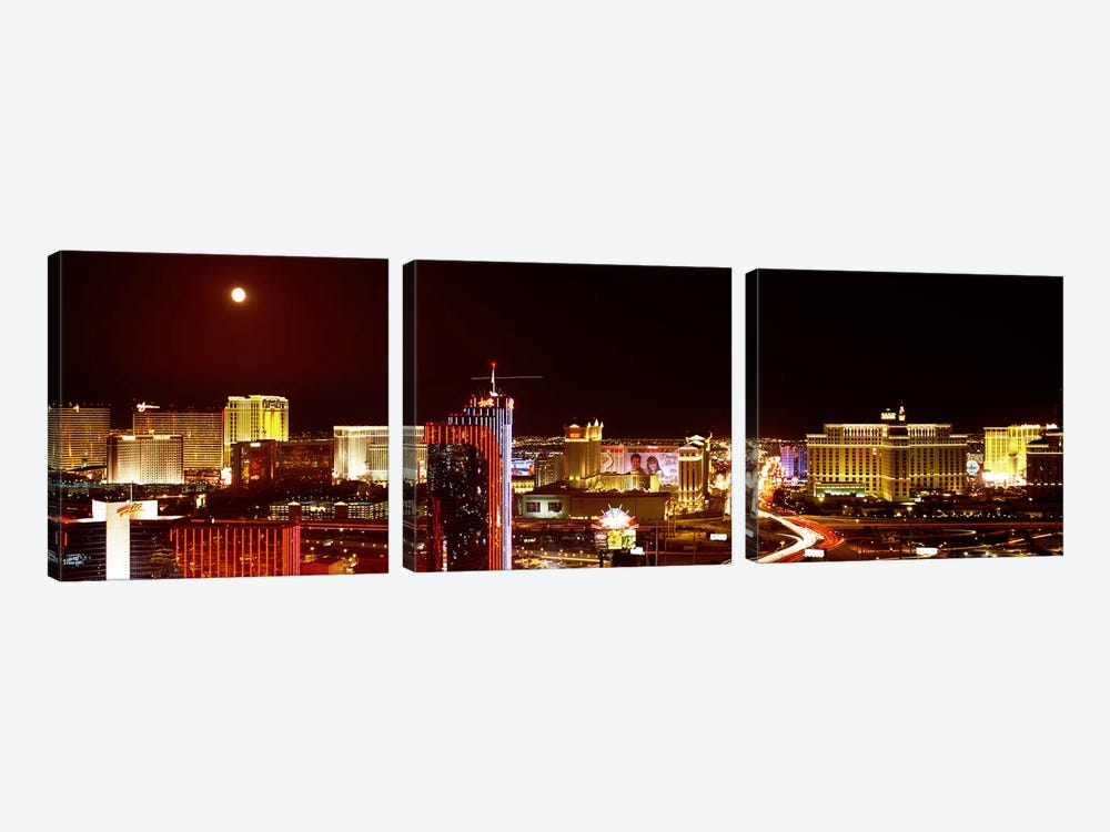 City lit up at night, Las Vegas, Nevada, USA #5 by Panoramic Images 3-piece Art Print