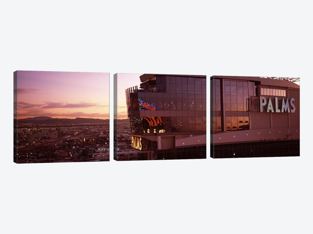 Hotel lit up at dusk, Palms Casino Resort, Las Vegas, Nevada, USA by Panoramic Images 3-piece Canvas Artwork
