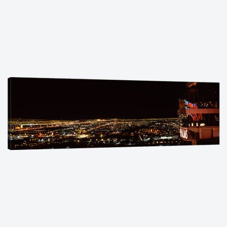 Hotel lit up at night, Palms Casino Resort, Las Vegas, Nevada, USA 2010 Canvas Print #PIM8180} by Panoramic Images Canvas Art