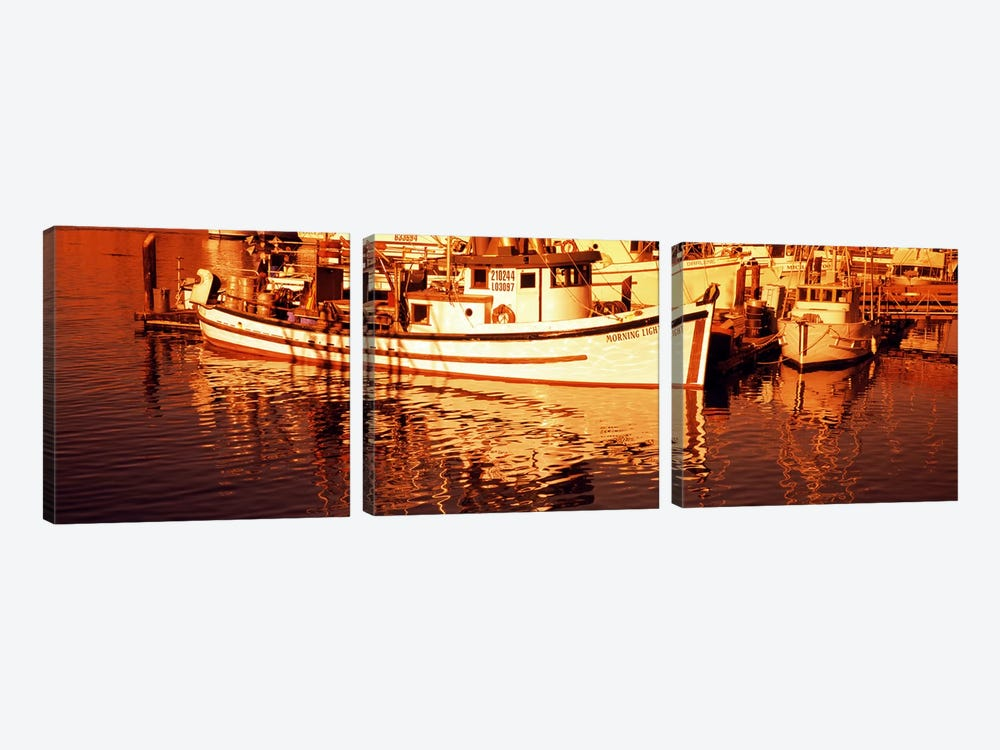 Fishing boats in the bay, Morro Bay, San Luis Obispo County, California, USA by Panoramic Images 3-piece Art Print