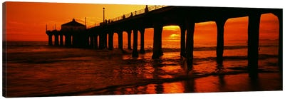 Silhouette of a pier at sunset, Manhattan Beach Pier, Manhattan Beach, Los Angeles County, California, USA Canvas Art Print