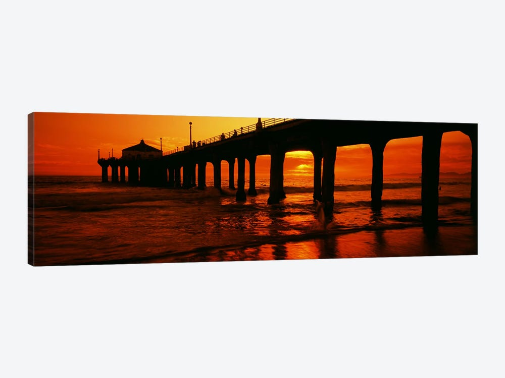 Silhouette of a pier at sunset, Manhattan Beach Pier, Manhattan Beach, Los Angeles County, California, USA by Panoramic Images 1-piece Canvas Print