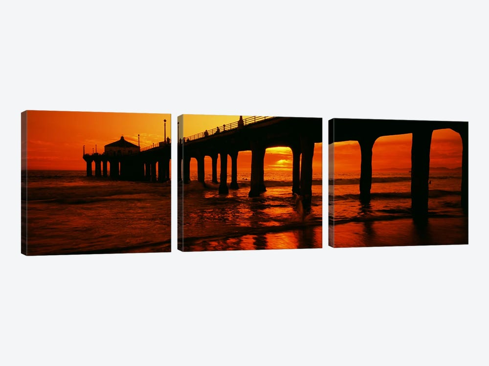Silhouette of a pier at sunset, Manhattan Beach Pier, Manhattan Beach, Los Angeles County, California, USA by Panoramic Images 3-piece Canvas Art Print