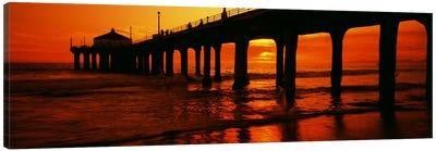 Silhouette of a pier at sunset, Manhattan Beach Pier, Manhattan Beach, Los Angeles County, California, USA Canvas Art Print