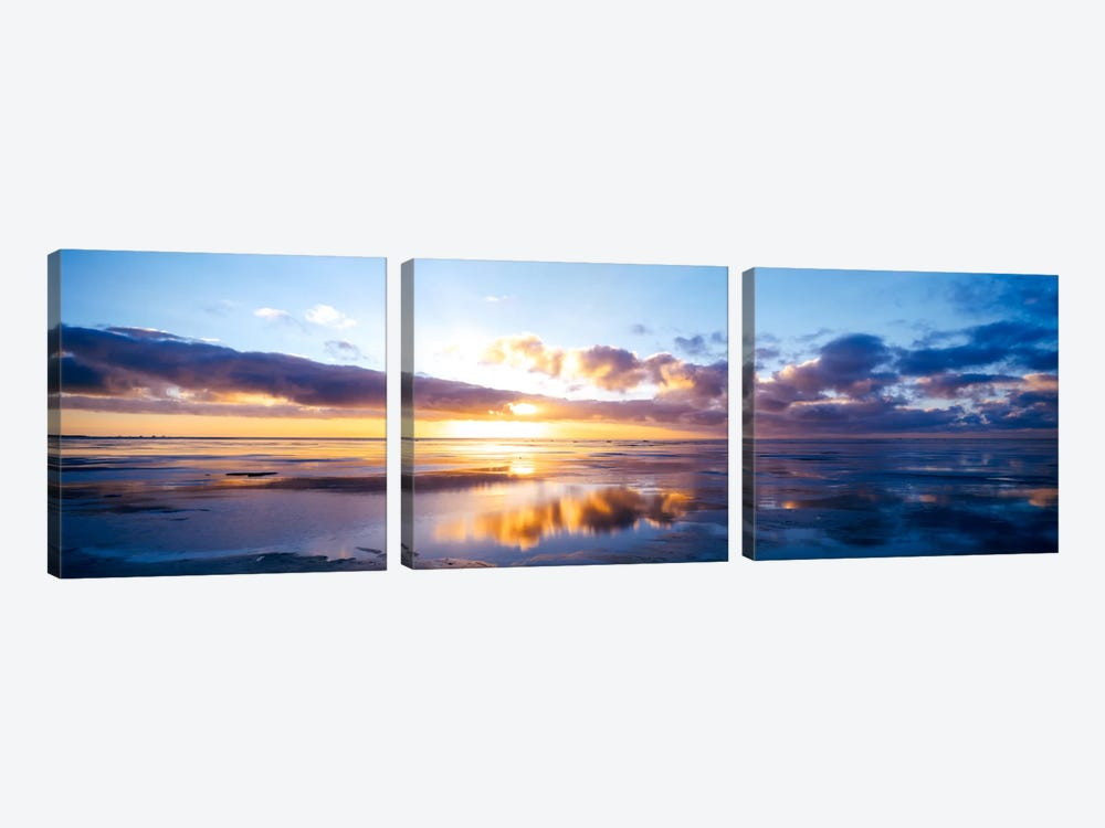 Partly Cloudy Seascape, North Sea, Germany by Panoramic Images 3-piece Canvas Artwork