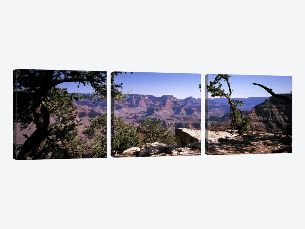 View Of The South Rim From Mather Point, Grand Canyon National Park, Arizona, USA 3-piece Canvas Wall Art