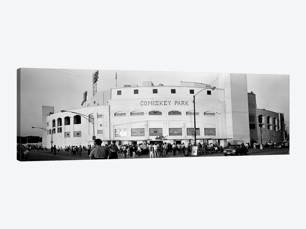 People outside a baseball park, old Comiskey Park, Chicago, Cook County, Illinois, USA by Panoramic Images 1-piece Canvas Wall Art