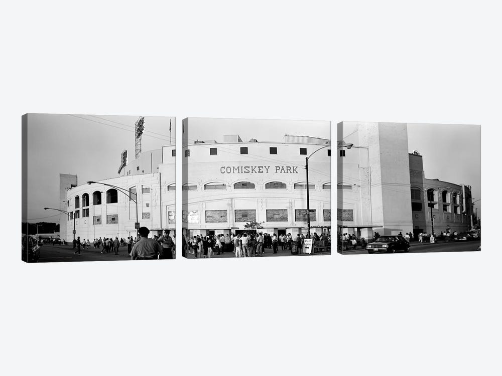 People outside a baseball park, old Comiskey Park, Chicago, Cook County, Illinois, USA by Panoramic Images 3-piece Canvas Art