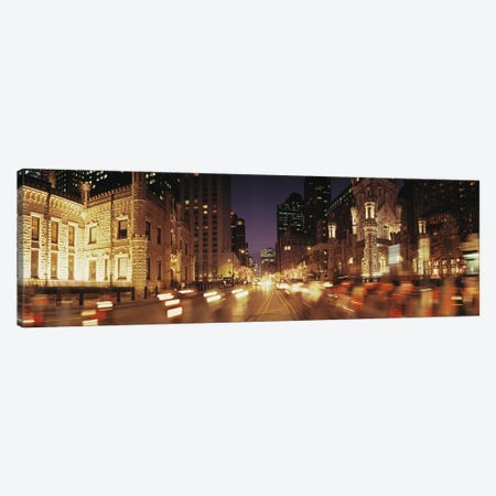 Traffic on the road at dusk, Michigan Avenue, Chicago, Cook County, Illinois, USA Canvas Print #PIM8210} by Panoramic Images Canvas Artwork