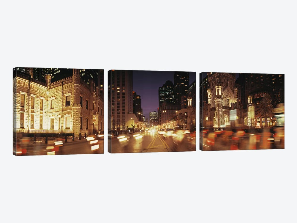 Traffic on the road at dusk, Michigan Avenue, Chicago, Cook County, Illinois, USA by Panoramic Images 3-piece Canvas Art Print