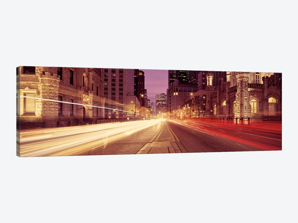 Traffic on the road at dusk, Michigan Avenue, Chicago, Cook County, Illinois, USA #2 by Panoramic Images 1-piece Canvas Art