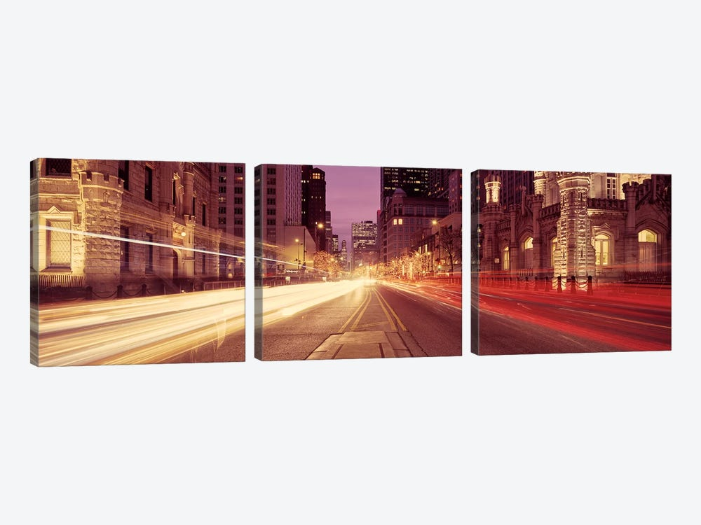 Traffic on the road at dusk, Michigan Avenue, Chicago, Cook County, Illinois, USA #2 by Panoramic Images 3-piece Canvas Art