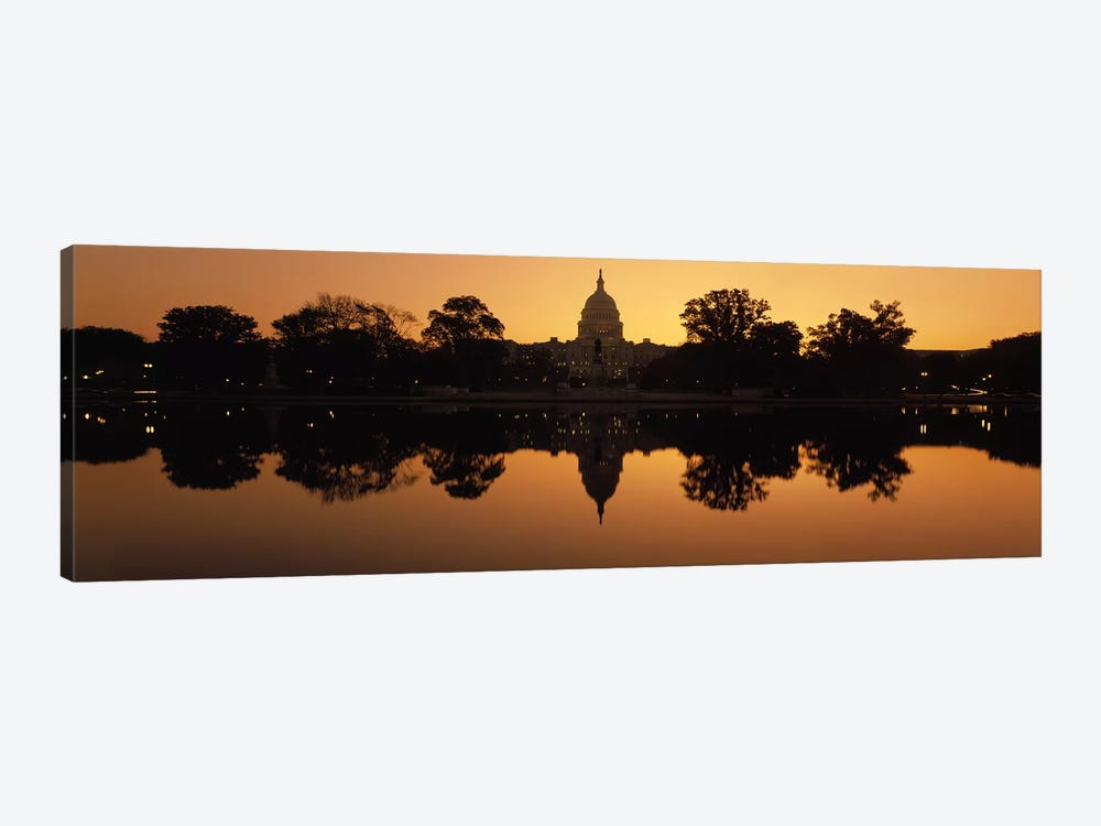Reflection of a government building in water at duskCapitol Building, Washington DC, USA by Panoramic Images 1-piece Canvas Print