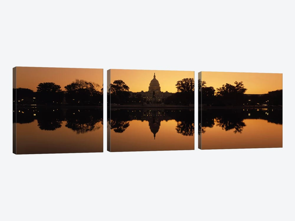 Reflection of a government building in water at duskCapitol Building, Washington DC, USA by Panoramic Images 3-piece Canvas Art Print