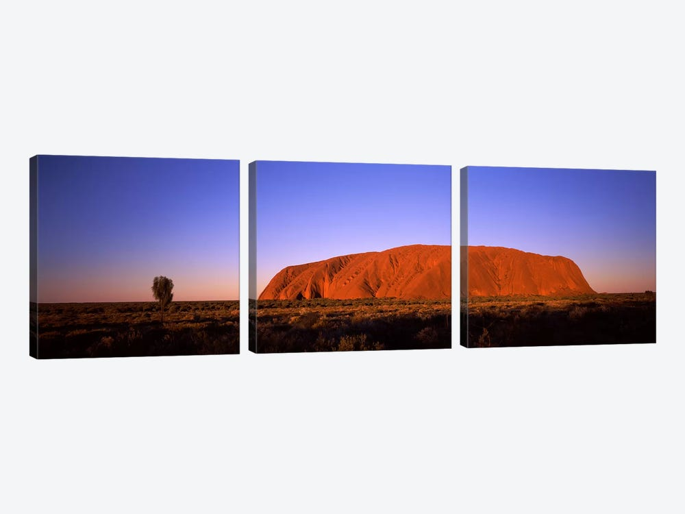 Sunset Over Uluru (Ayers Rock), Uluru-Kata Tjuta National Park, Northern Territory, Australia by Panoramic Images 3-piece Art Print