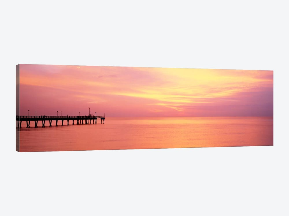 Sunset At PierWater, Caspersen Beach, Venice, Florida, USA by Panoramic Images 1-piece Canvas Wall Art