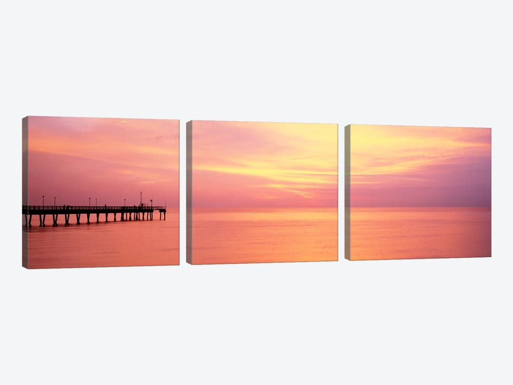 Sunset At PierWater, Caspersen Beach, Venice, Florida, USA by Panoramic Images 3-piece Canvas Art