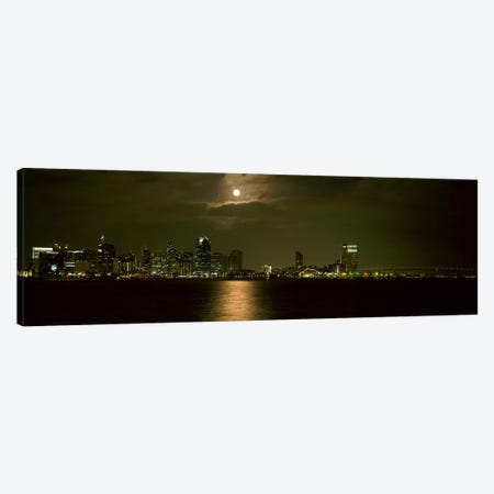 Skyscrapers lit up at night, Coronado Bridge, San Diego, California, USA Canvas Print #PIM8222} by Panoramic Images Canvas Print