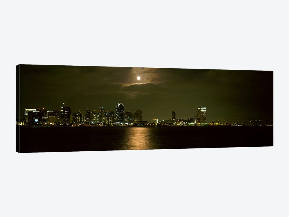 Skyscrapers lit up at night, Coronado Bridge, San Diego, California, USA by Panoramic Images 1-piece Canvas Wall Art