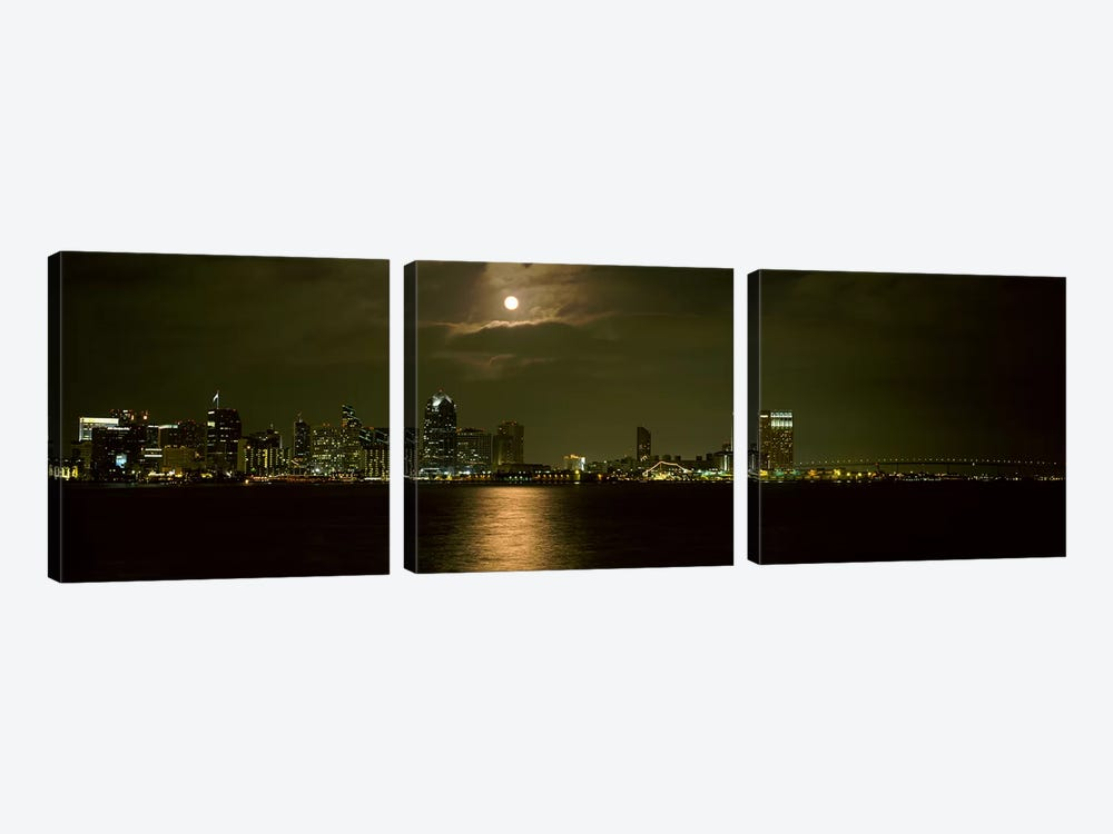 Skyscrapers lit up at night, Coronado Bridge, San Diego, California, USA by Panoramic Images 3-piece Canvas Wall Art