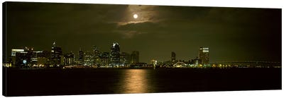 Skyscrapers lit up at night, Coronado Bridge, San Diego, California, USA Canvas Art Print