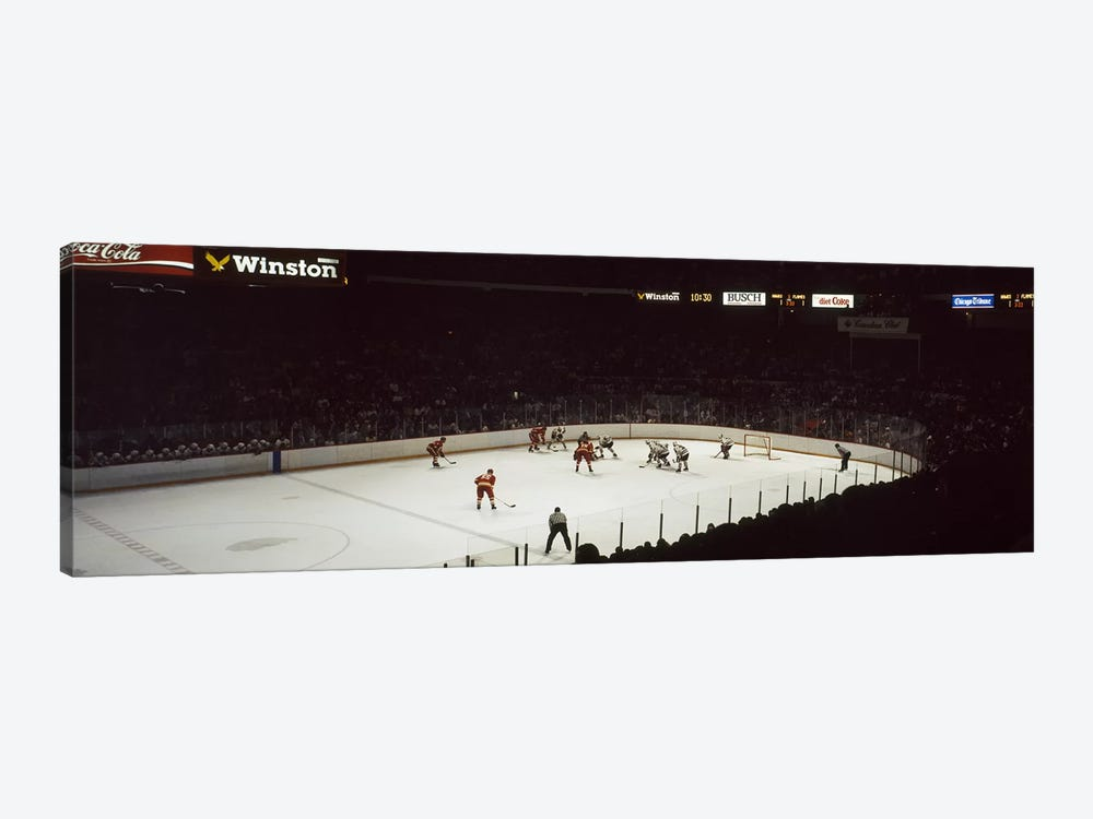 Group of people playing ice hockey, Chicago, Illinois, USA by Panoramic Images 1-piece Canvas Art
