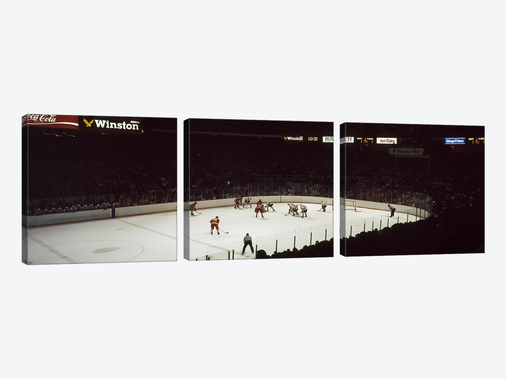 Group of people playing ice hockey, Chicago, Illinois, USA by Panoramic Images 3-piece Canvas Art