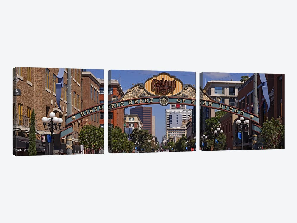 Buildings in a city, Gaslamp Quarter, San Diego, California, USA by Panoramic Images 3-piece Art Print