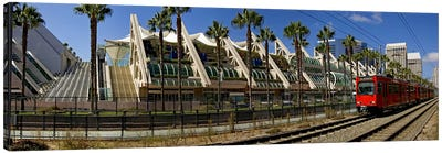 MTS commuter train moving on tracks, San Diego Convention Center, San Diego, California, USA Canvas Art Print