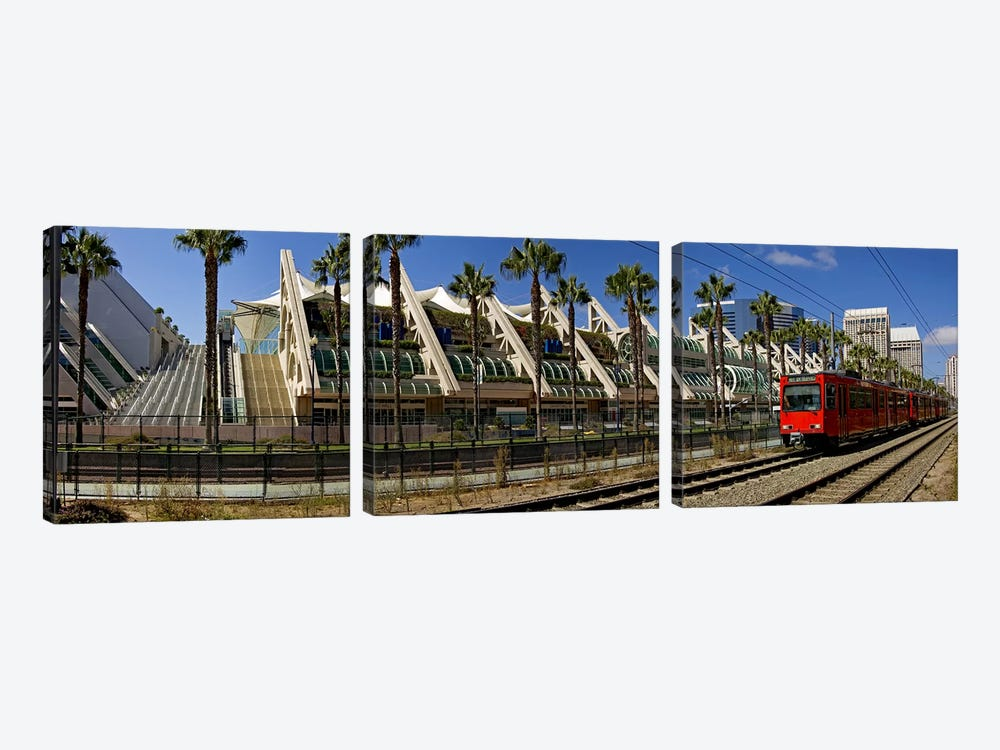 MTS commuter train moving on tracks, San Diego Convention Center, San Diego, California, USA by Panoramic Images 3-piece Canvas Art Print