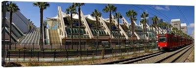 MTS commuter train moving on tracks, San Diego Convention Center, San Diego, California, USA Canvas Art Print