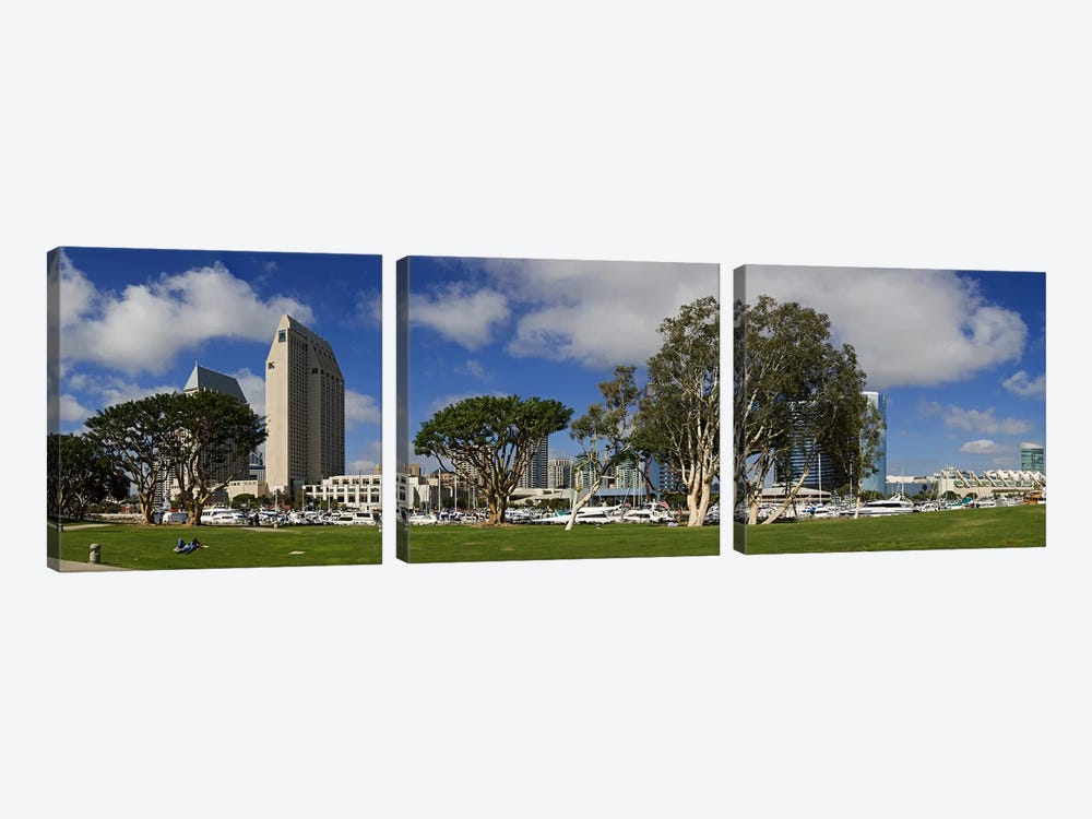 Park in a city, Embarcadero Marina Park, San Diego, California, USA 2010 3-piece Canvas Wall Art