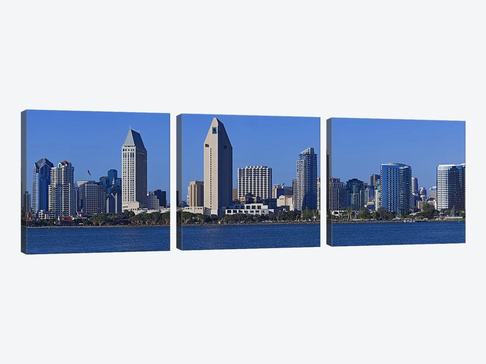 City at the waterfront, San Diego, California, USA 2010 by Panoramic Images 3-piece Canvas Wall Art