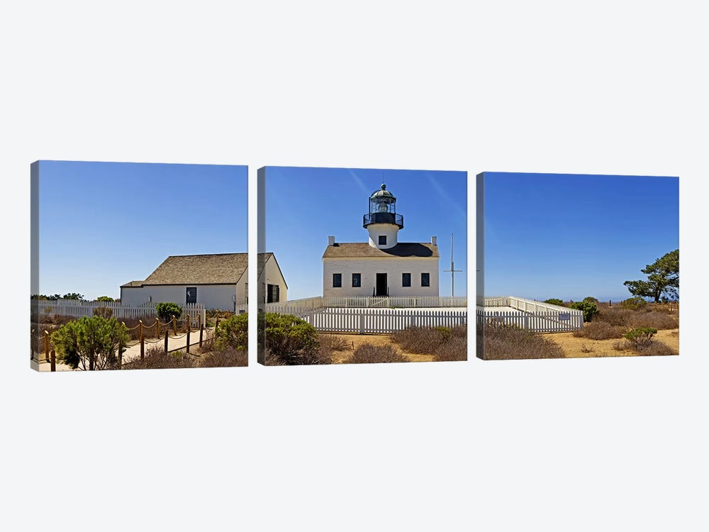 Lighthouse, Old Point Loma Lighthouse, Point Loma, Cabrillo National Monument, San Diego, California, USA by Panoramic Images 3-piece Canvas Art
