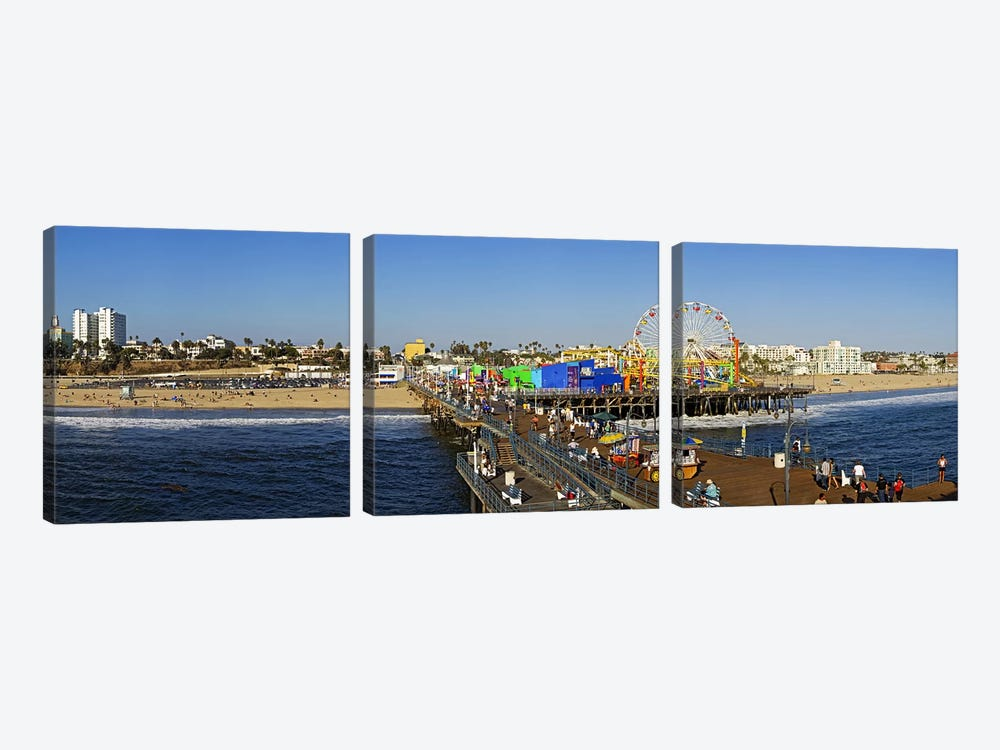 Amusement park, Santa Monica Pier, Santa Monica, Los Angeles County, California, USA by Panoramic Images 3-piece Art Print