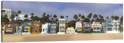 Houses on the beach, Santa Monica, Los Angeles County, California, USA Canvas Art Print