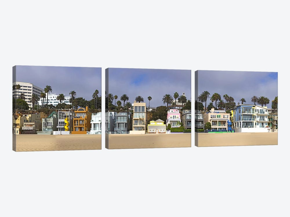 Houses on the beach, Santa Monica, Los Angeles County, California, USA by Panoramic Images 3-piece Canvas Wall Art