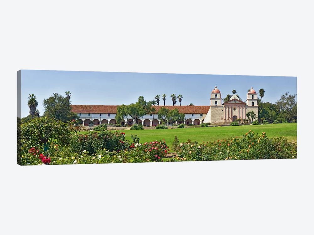 Garden in front of a mission, Mission Santa Barbara, Santa Barbara, Santa Barbara County, California, USA by Panoramic Images 1-piece Canvas Print