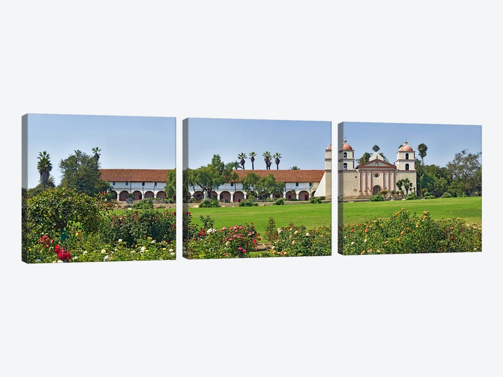 Garden in front of a mission, Mission Santa Barbara, Santa Barbara, Santa Barbara County, California, USA by Panoramic Images 3-piece Canvas Print