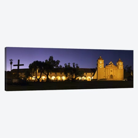 Mission lit up at night, Mission Santa Barbara, Santa Barbara, Santa Barbara County, California, USA Canvas Print #PIM8239} by Panoramic Images Canvas Art