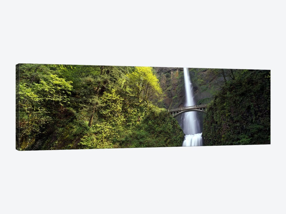 Waterfall in a forest, Multnomah Falls, Columbia River Gorge, Portland, Multnomah County, Oregon, USA 1-piece Canvas Artwork