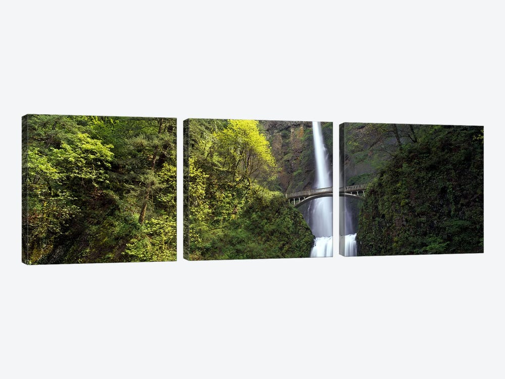 Waterfall in a forest, Multnomah Falls, Columbia River Gorge, Portland, Multnomah County, Oregon, USA 3-piece Canvas Art