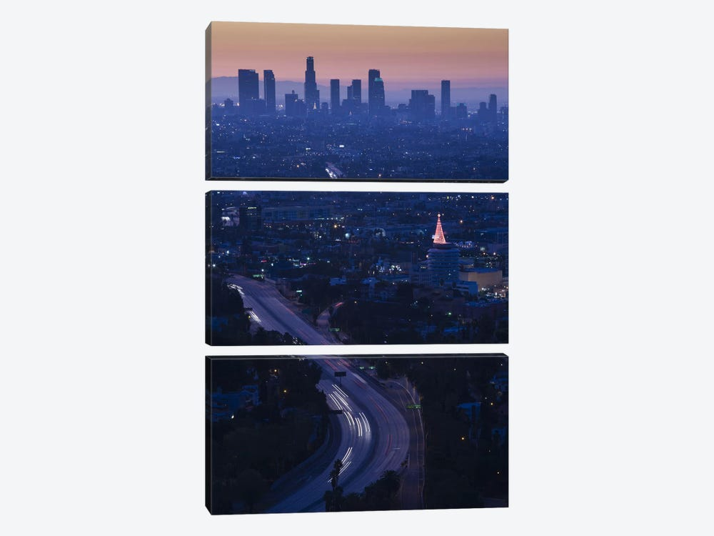 High angle view of highway 101 at dawn, Hollywood Freeway, Hollywood, Los Angeles, California, USA by Panoramic Images 3-piece Art Print