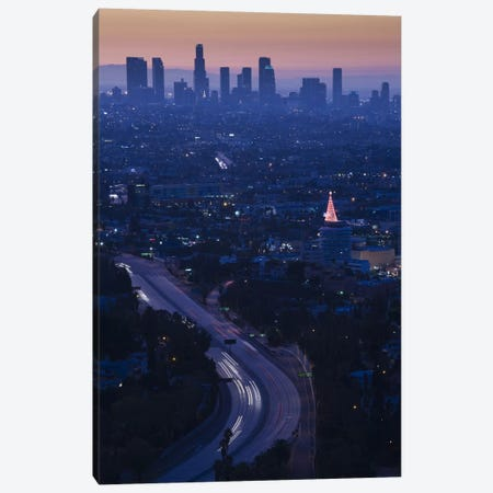 High angle view of highway 101 at dawn, Hollywood Freeway, Hollywood, Los Angeles, California, USA 3-Piece Canvas #PIM8243} by Panoramic Images Canvas Art Print