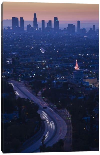 High angle view of highway 101 at dawn, Hollywood Freeway, Hollywood, Los Angeles, California, USA Canvas Art Print