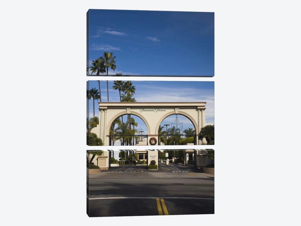 Entrance gate to a studio, Paramount Studios, Melrose Avenue, Hollywood, Los Angeles, California, USA by Panoramic Images 3-piece Canvas Art Print